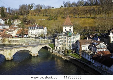 Townhouses And The Lower Gate Bridge In Bern