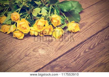 Yellow Roses On A Wooden Background. Women' S Day, Valentines Day, Mothers Day