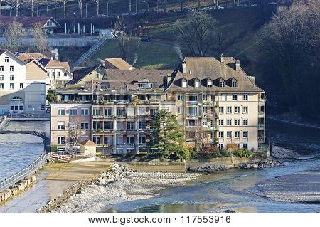 Townhouses By The Aare River In Bern, Switzerland
