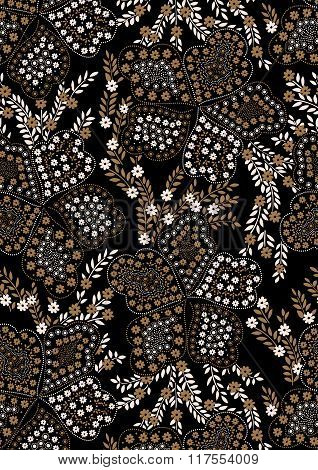 Floral Pattern Embroidery On A Black Background