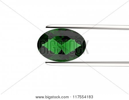 Gemstone in the tweezers on a white background