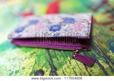 Abstract image of an old coloured wallet - shallow depth of field