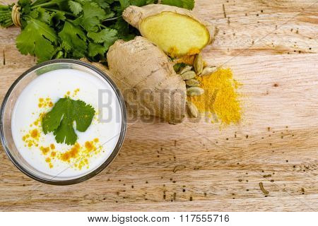 Glas Indian Traditional Lassi With Spices, Copy Space