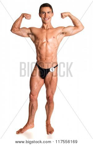 Bodybuilder posing. Studio shot on white.