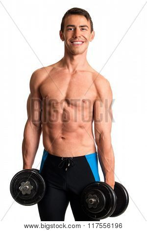 Athletic man with dumbbells. Studio shot over white.
