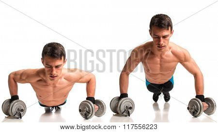 Push-ups with dumbbells. Studio composite over white.