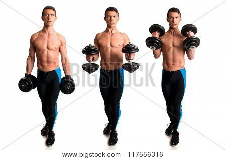 Hammer curl exercise. Studio composite over white.