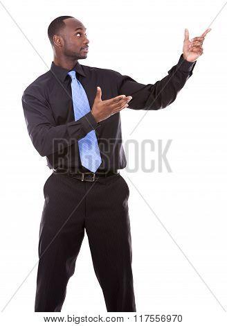 Handsome Black Man Pointing