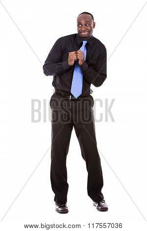 Scared Black Businessman
