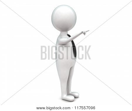 3D Man Pointing Hand Toward One Direction Concept