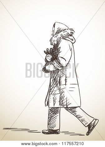 Sketch of walking woman in winter clothes, Hand drawn illustration
