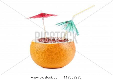 Cut Grapefruit Cocktail With Umbrella, Isolated On White