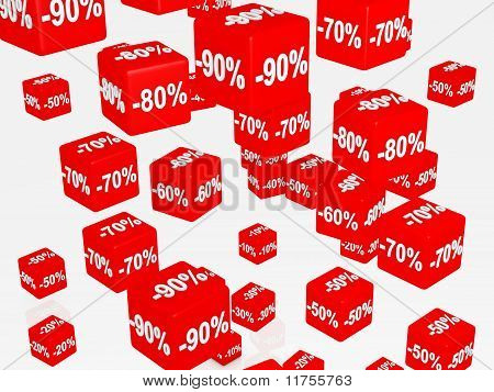 Red boxes with discount concept