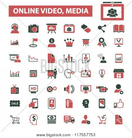 online video, media, education, technology, icons, signs, set, vector
