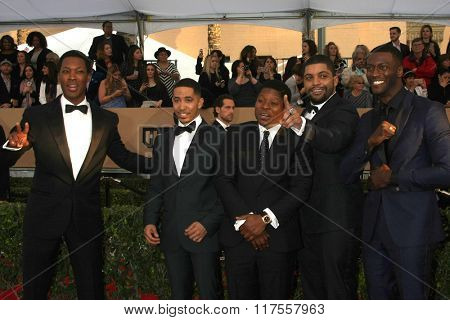 LOS ANGELES - JAN 30: Corey Hawkins, Neil Brown Jr., Jason Mitchell, O'Shea Jackson Jr., Aldis Hodge - 22nd Screen Actors Guild Awards at the Shrine Auditorium on January 30, 2016 in Los Angeles, CA