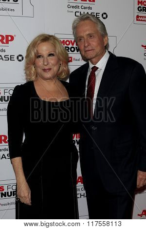 LOS ANGELES - FEB 8:  Bette Midler, Michael Douglas at the 15th Annual Movies For Grownups Awards at the Beverly Wilshire Hotel on February 8, 2016 in Beverly Hills, CA