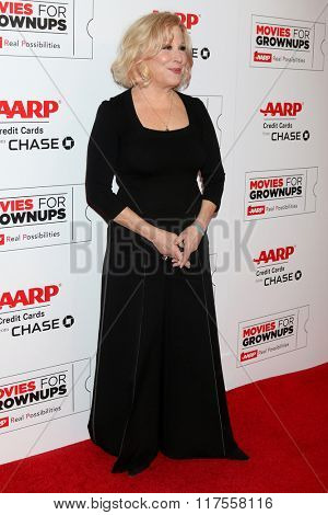 LOS ANGELES - FEB 8:  Bette Midler at the 15th Annual Movies For Grownups Awards at the Beverly Wilshire Hotel on February 8, 2016 in Beverly Hills, CA