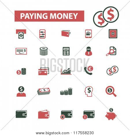 paying money, payment, money, banking  icons, signs vector concept set for infographics, mobile, website, application