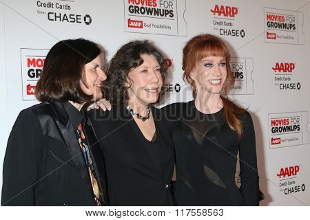 LOS ANGELES - FEB 8:  Paula Poundstone, Lily Tomlin, Kathy Griffin at the 15th Annual Movies For Grownups Awards at the Beverly Wilshire Hotel on February 8, 2016 in Beverly Hills, CA