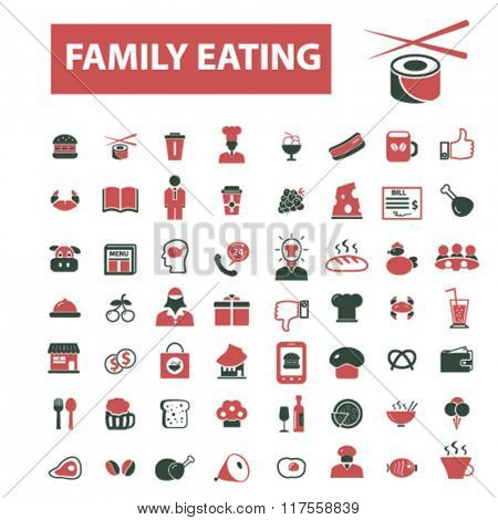 family eating, restaurant, restaurant menu, restaurant dinner icons, signs vector concept set for infographics, mobile, website, application