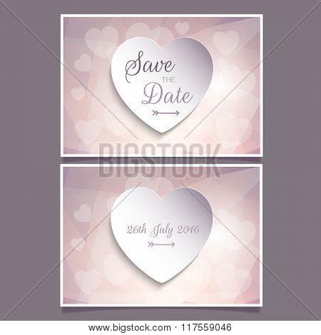 Decorative heart design for save the date invitation