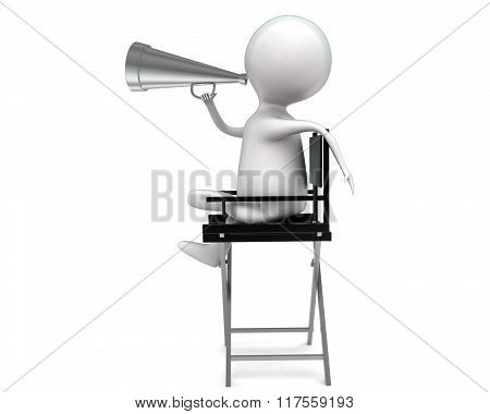 3D Man Holding Megaphone And Commanding While Sitting On A Chair Concept