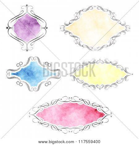 Watercolour decorative labels