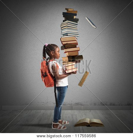 Pile of books for a little girl
