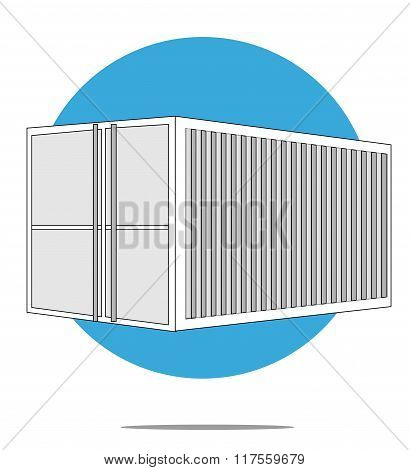 Illustration Of Sea Container With Blue Circle Background