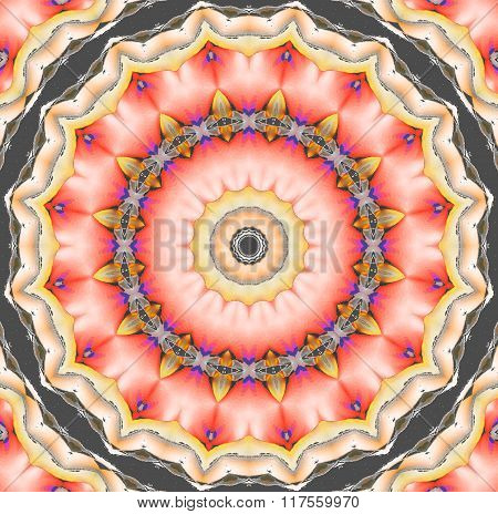 Seamless floral ornament pink red yellow gray