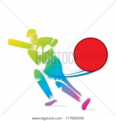 creative sketch cricket player hit ball design
