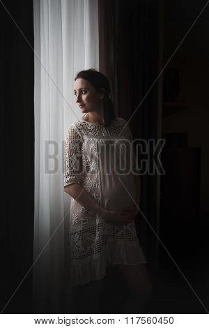Happy Pregnant Woman Near A Window