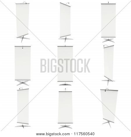 Blank Roll Up Banner Stand. 3D Set