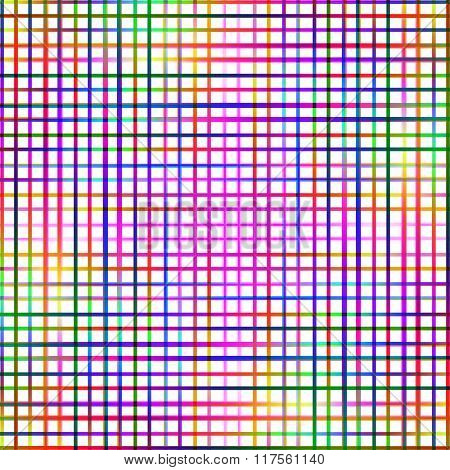 Bright multicolored grid lines abstract pattern.