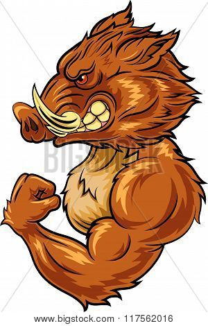 Cartoon angry wild boar mascot