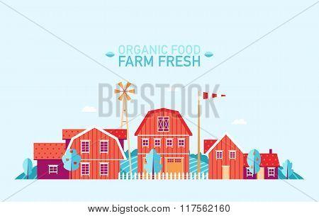 Farm landscape flat organic food fresh vector