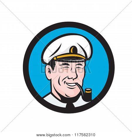 Smiling Sea Captain Smoking Pipe Circle Retro