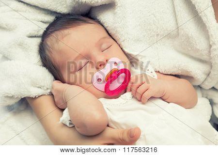 Close up image of sleeping newborn baby