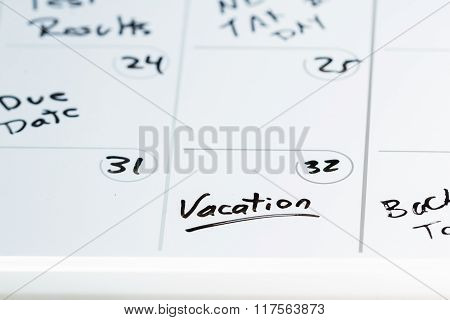 Vacation Marked On The Calendar