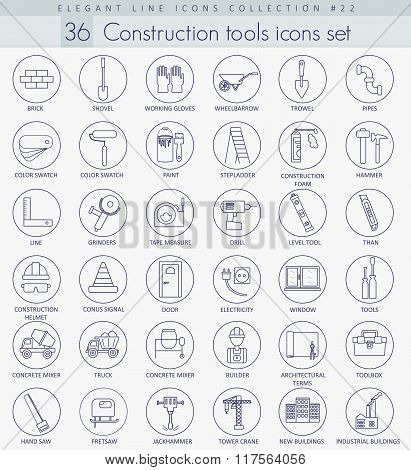 Vector Construction tools outline icon set. Elegant thin line style design