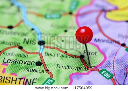 Dimitrovgrad pinned on a map of Serbia