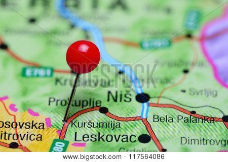 Kursumlija pinned on a map of Serbia