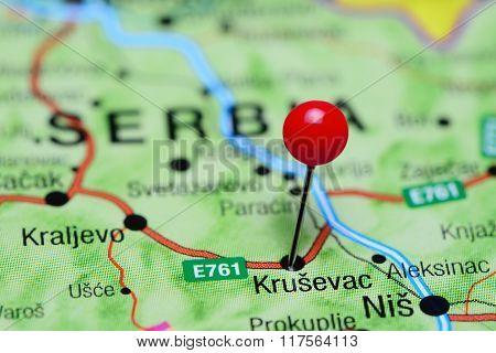 Krusevac pinned on a map of Serbia