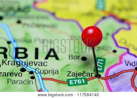 Zajecar pinned on a map of Serbia