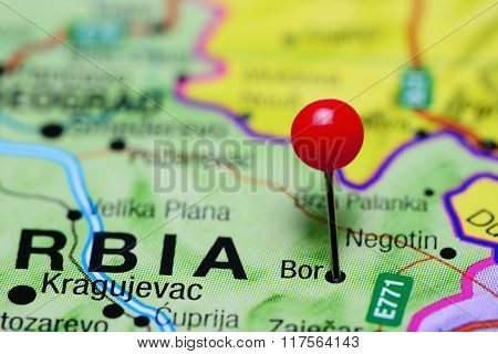 Bor pinned on a map of Serbia