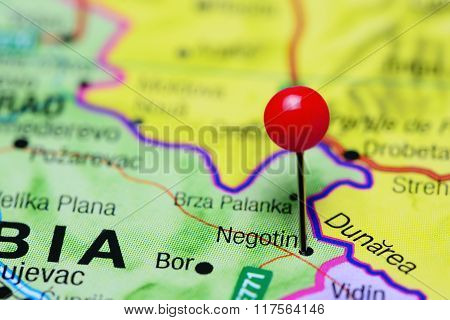 Negotin pinned on a map of Serbia