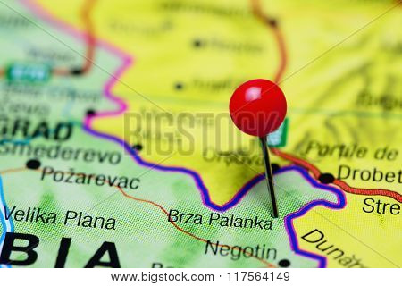 Brza Palanka pinned on a map of Serbia