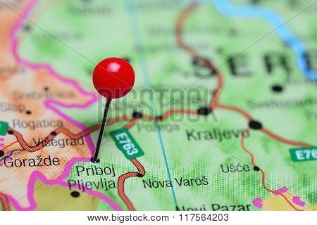 Priboj pinned on a map of Serbia