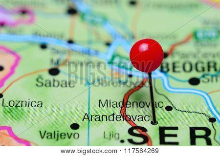 Arandelovac pinned on a map of Serbia
