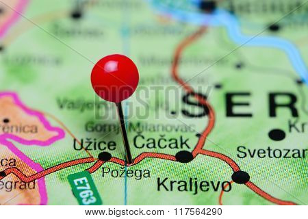 Pozega pinned on a map of Serbia